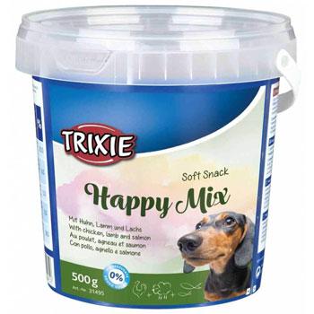 تشویقی سطلی 500 گرمی سگ تریکسی مدل Happy Mix طعم مرغ، بره، سالمون