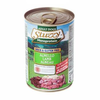 کنسرو سگ بالغ حاوی گوشت بره مدل مونوپروتئین برند Stuzzy