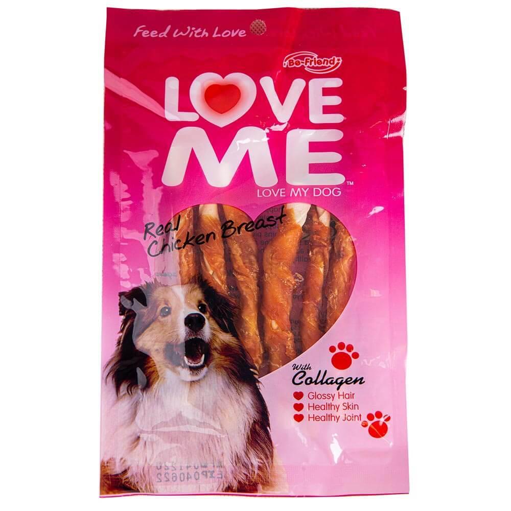 تشویقی مدادی سگ لاومی love me طعم مرغ با دورپیچ ماهی